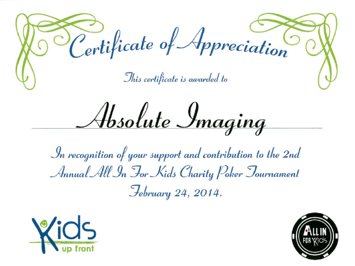 Social responsibility absolute imaging inc certificate of appreciation from kids up front yadclub Choice Image